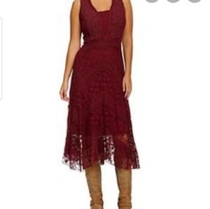 Reba burgundy purple lace night out dress